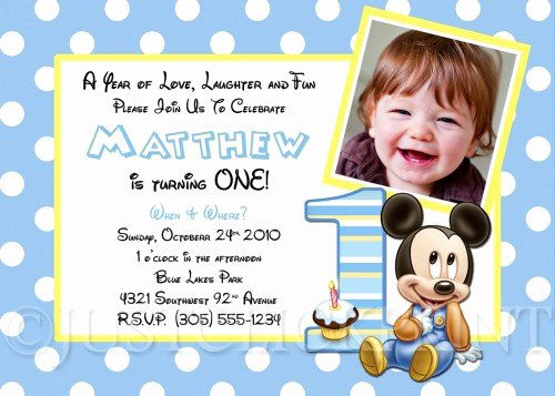Baby Mickey Birthday Invitations New Baby Mickey Inspired First Birthday Invitation
