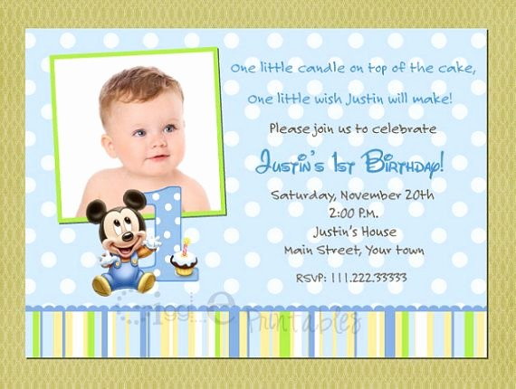 Baby Mickey Birthday Invitations New Baby Mickey Mouse Birthday Invitation