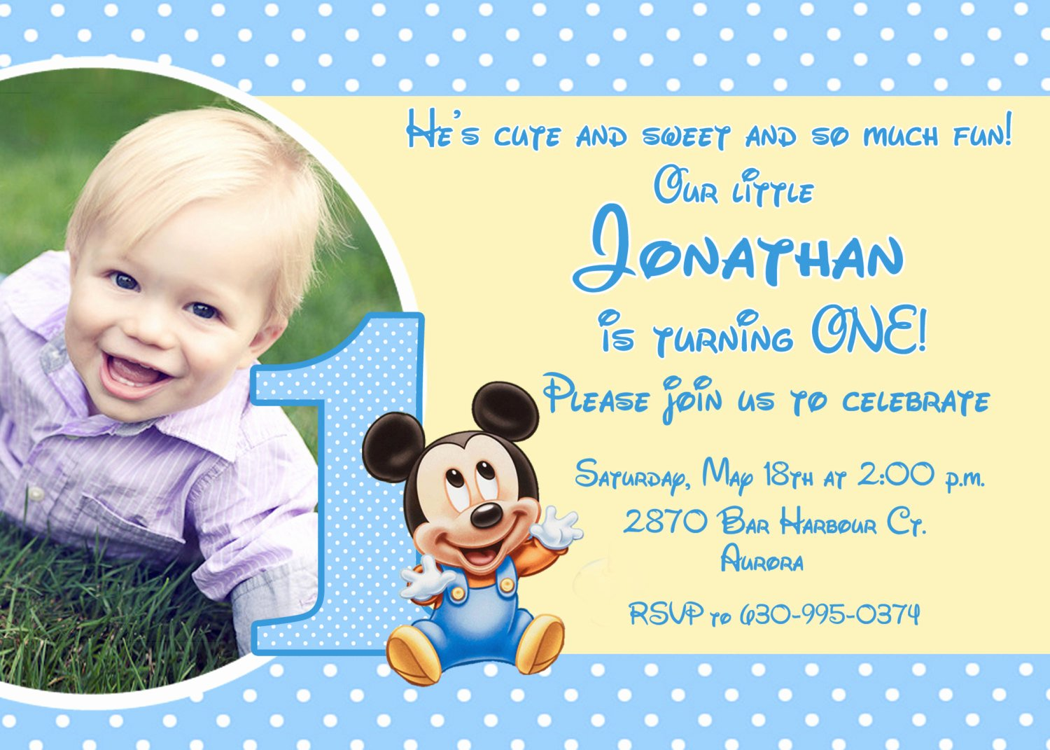 baby mickey birthday invitations