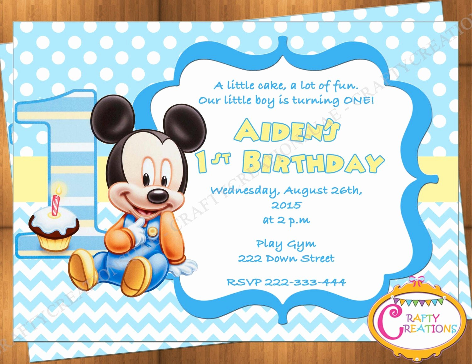 Baby Mickey Mouse Birthday Invitations Awesome Baby Mickey Mouse First Birthday Invitation Mickey Mouse 1st