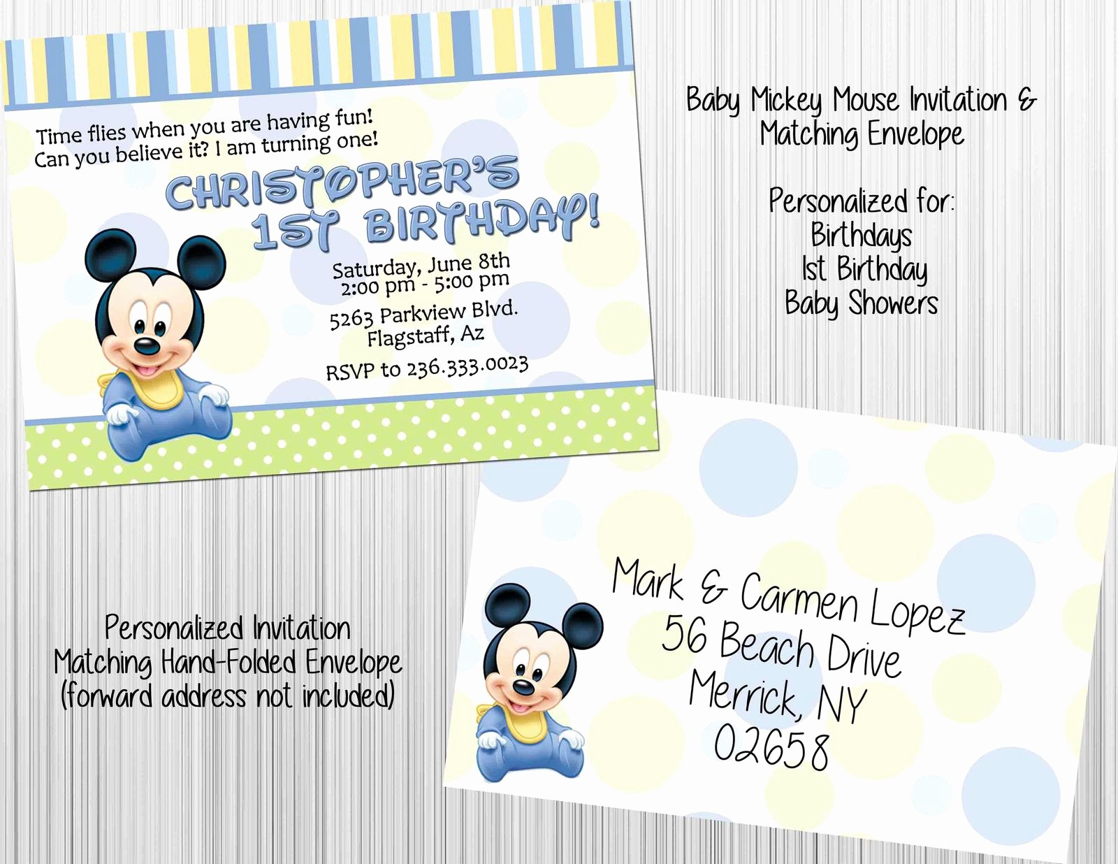 Baby Mickey Mouse Birthday Invitations Awesome Baby Mickey Mouse Invitation Set Envelopes Birthday