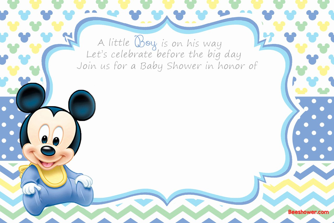 Baby Mickey Mouse Birthday Invitations Beautiful Free Printable Disney Baby Shower Invitations Free