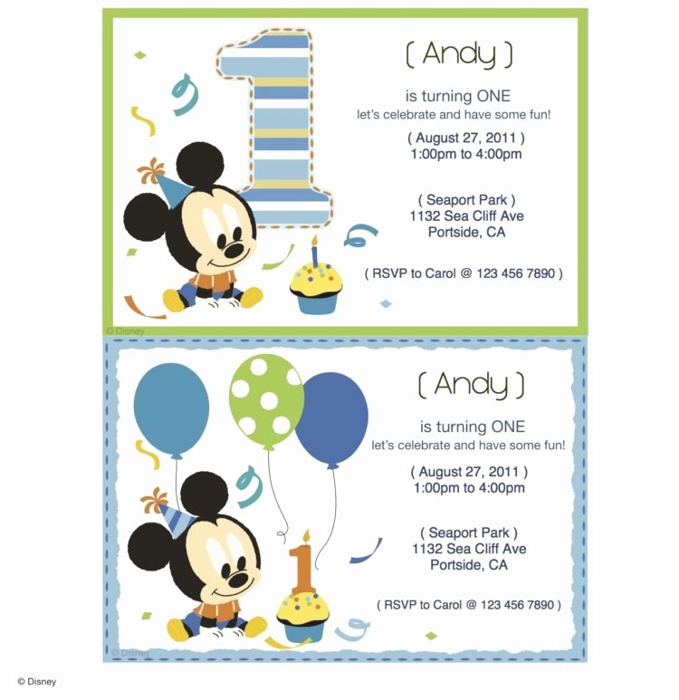 Baby Mickey Mouse Birthday Invitations Beautiful Mickey Mouse Printable Party Invitations