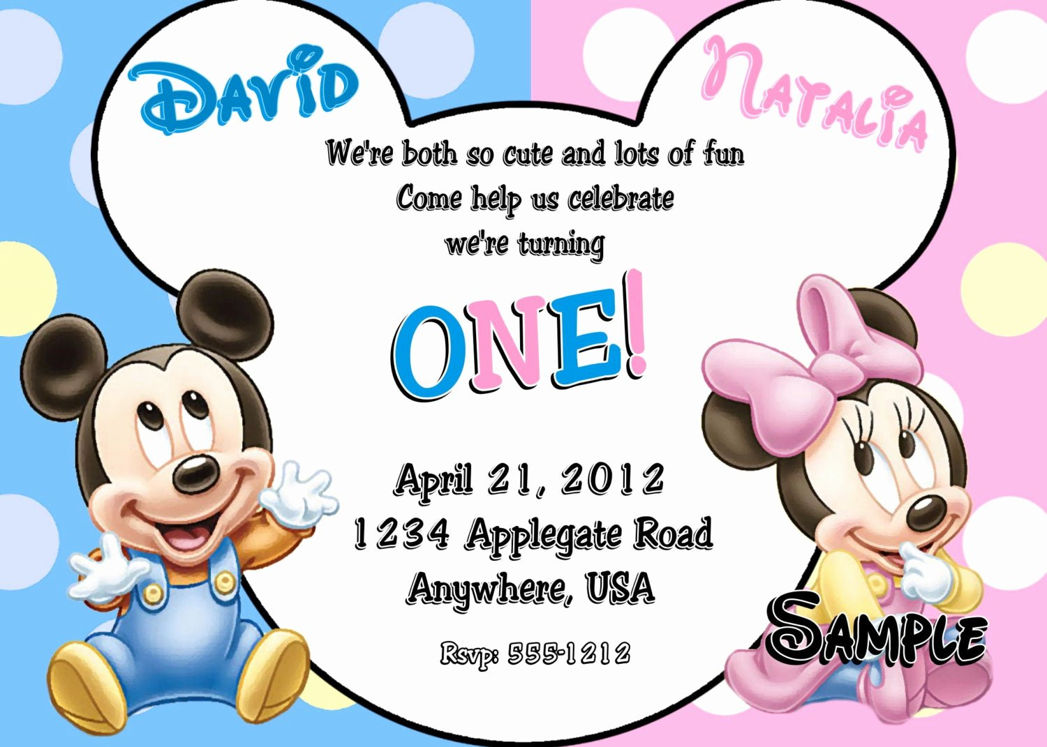 Baby Mickey Mouse Birthday Invitations Best Of Baby Mickey Mouse & Baby Minnie Mouse Twins 1st Birthday