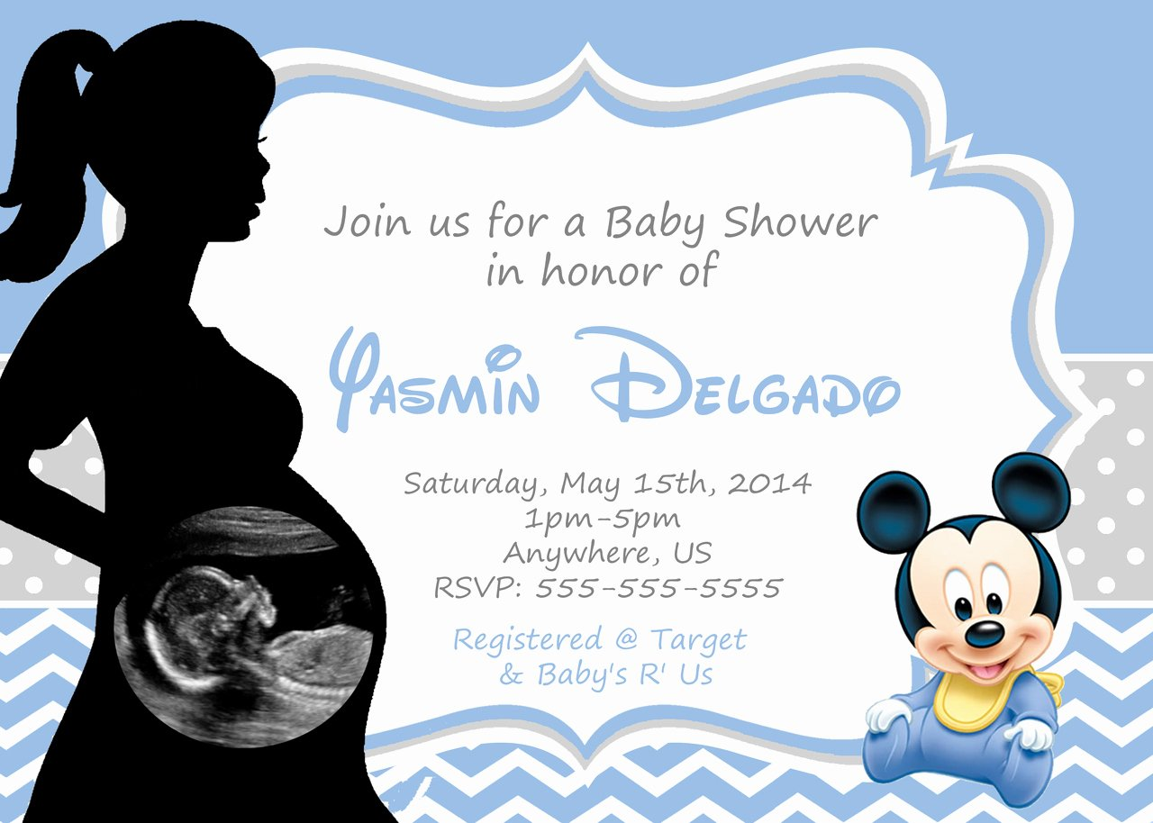 Baby Mickey Mouse Birthday Invitations Best Of Mickey Mouse Baby Shower Invitations for Boys