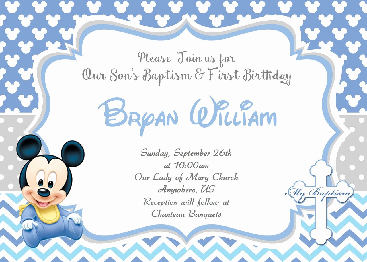 Baby Mickey Mouse Birthday Invitations Elegant Baby Mickey 1st Birthday Baptism Christening Invitation