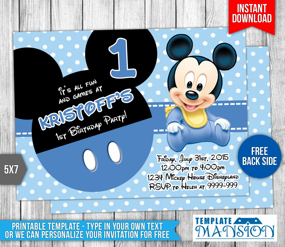 Baby Mickey Mouse Birthday Invitations Elegant Baby Mickey Mouse Birthday Invitation by Templatemansion
