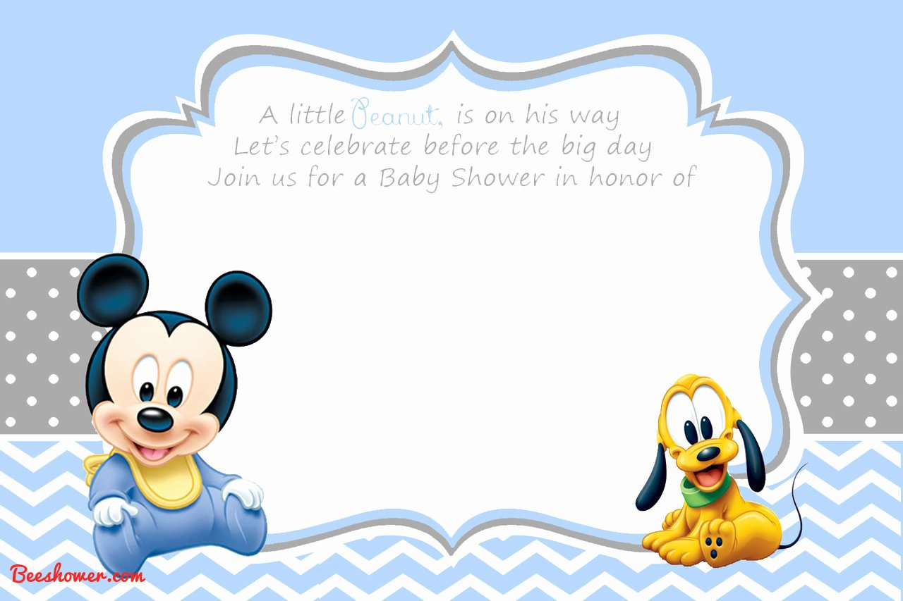 Baby Mickey Mouse Birthday Invitations Inspirational New Free Printable Mickey Mouse Baby Shower Invitation