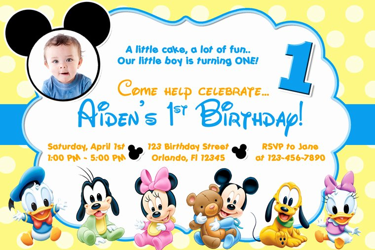 Baby Mickey Mouse Birthday Invitations Lovely Free Mickey Mouse Clubhouse Birthday Invitations to Make