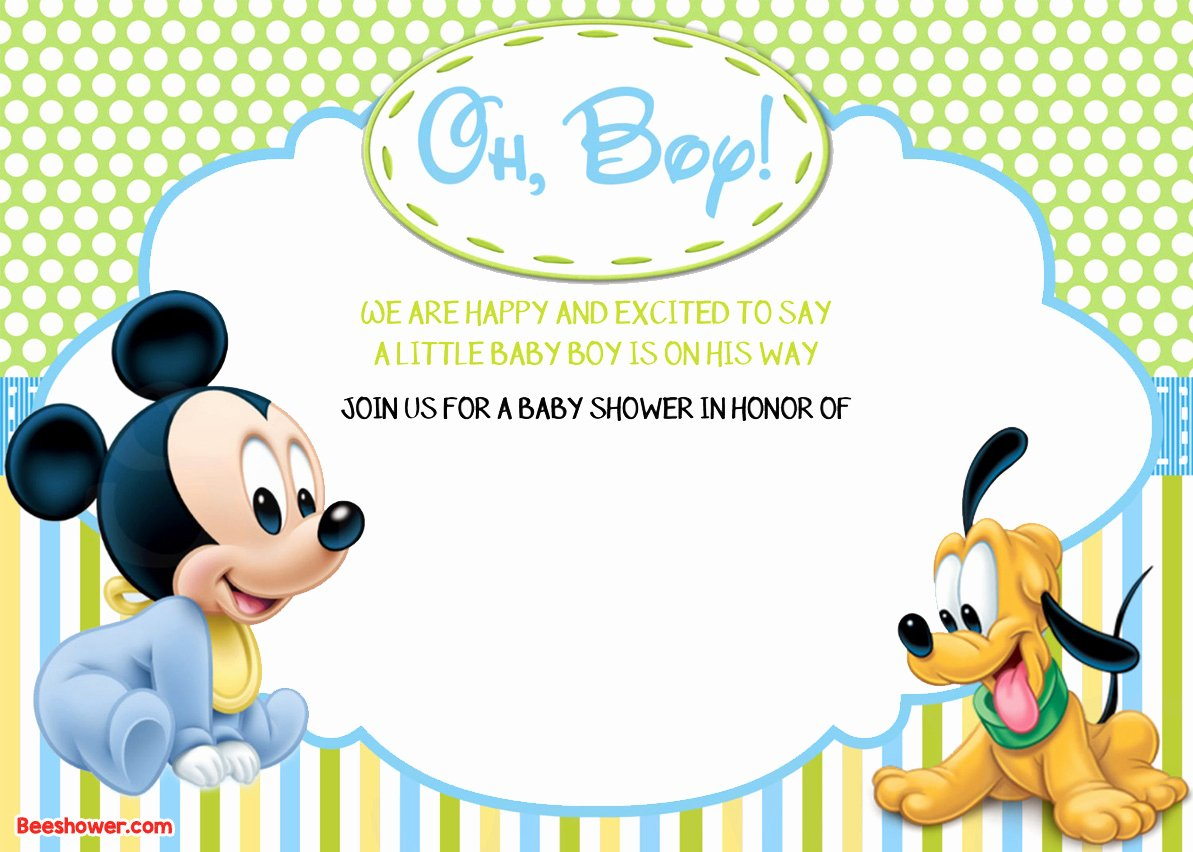 Baby Mickey Mouse Birthday Invitations Lovely Free Printable Disney Baby Shower Invitations Free
