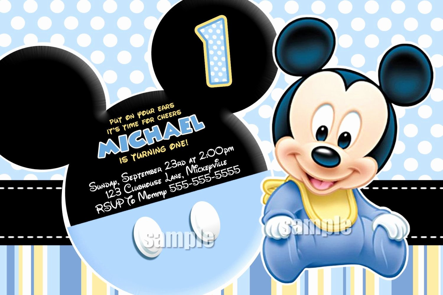Baby Mickey Mouse Birthday Invitations Lovely Huge Selection Baby Mickey Mouse Invitation Blue Yellow