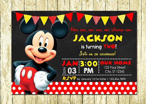 Baby Mickey Mouse Birthday Invitations Lovely Mickey Mouse Printed Chalkboard Birthday Invitations