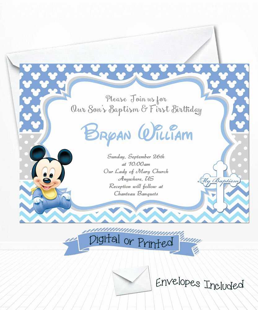 Baby Mickey Mouse Birthday Invitations Lovely Printed Baby Mickey Birthday Invitations Mickey Baptism