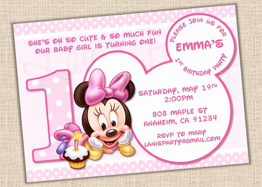 Baby Minnie Mouse Invitation Awesome Baby Minnie Mouse Template Invitations