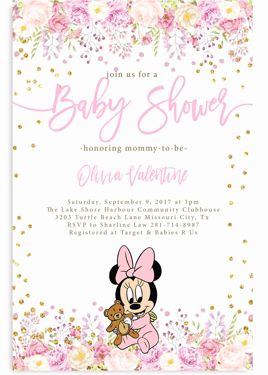Baby Minnie Mouse Invitation Beautiful Minnie Mouse Baby Shower Invitation 2