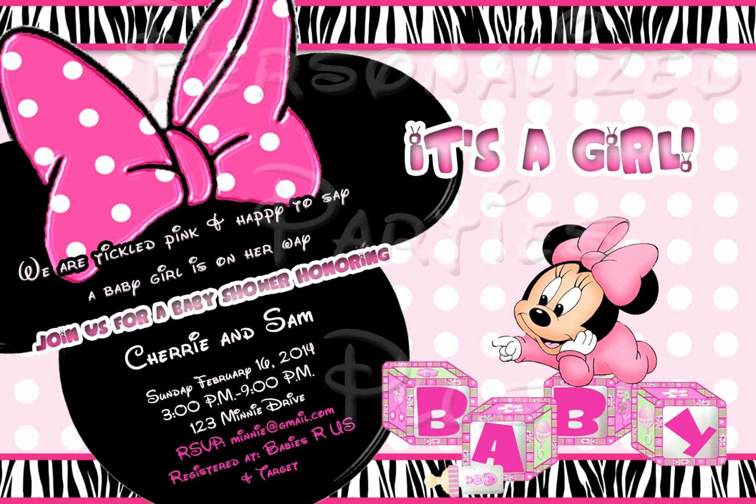 Baby Minnie Mouse Invitation Best Of Baby Minnie Mouse Baby Shower Invitation Downloaded by