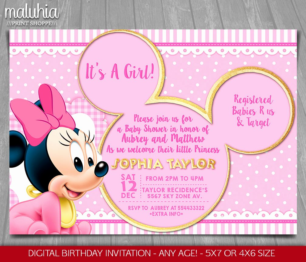 Baby Minnie Mouse Invitation Elegant Baby Minnie Mouse Baby Shower Invitation Baby Princess
