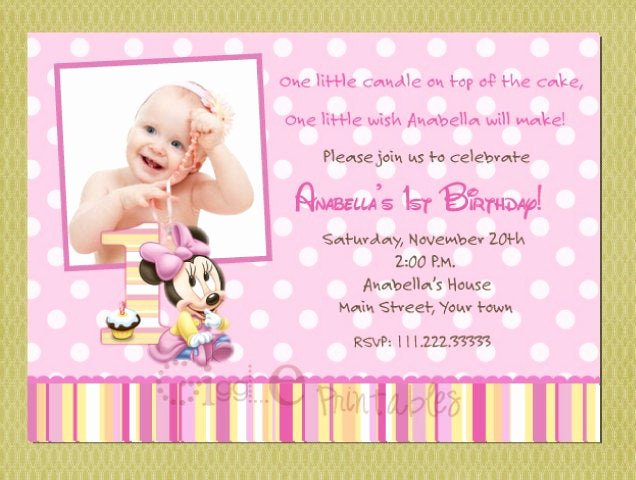 Baby Minnie Mouse Invitation Inspirational Baby Minnie Mouse Birthday Invitation