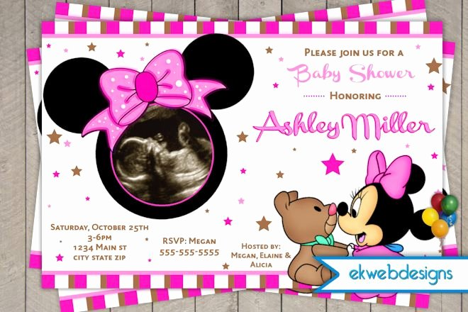 Baby Minnie Mouse Invitation Inspirational Minnie Mouse Baby Shower Invitations with Lovely Pink