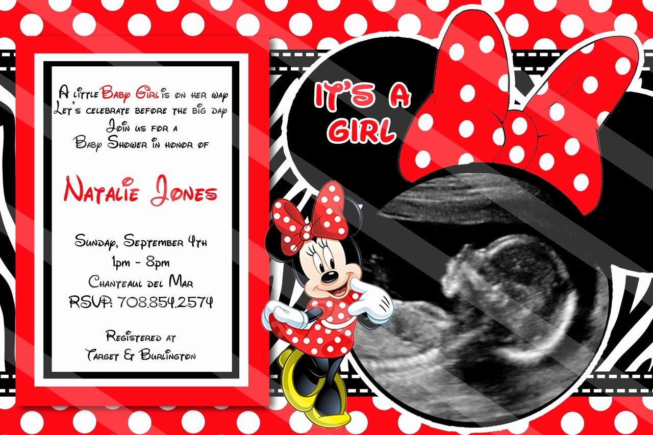 Baby Minnie Mouse Invitation New Red Minnie Mouse Baby Shower Invitations