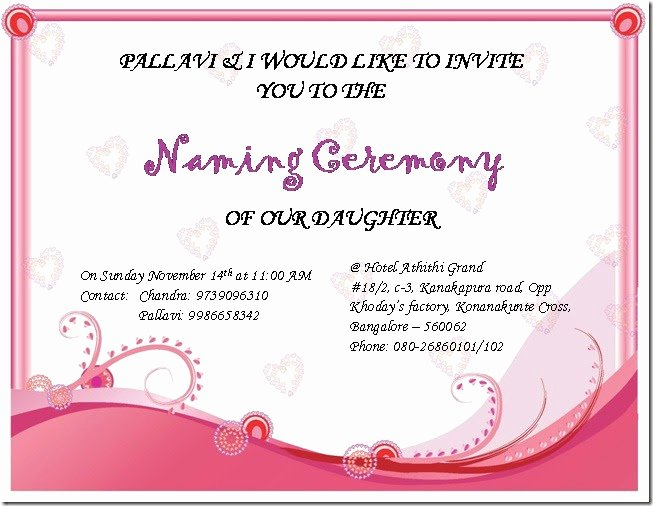 Baby Naming Ceremony Invitation Awesome Chandra S Random Updates Sireesha's Naming Ceremony