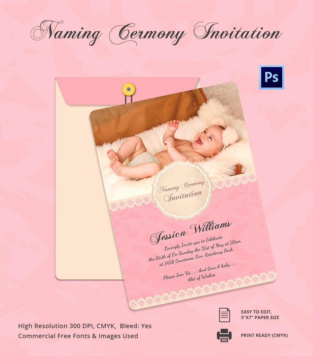 Baby Naming Ceremony Invitation Beautiful Baby Shower Invitation Card for Naming Ceremony and