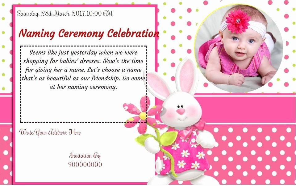 Baby Naming Ceremony Invitation Beautiful Free Baby Girl Naming Ceremony Invitation Card & Line