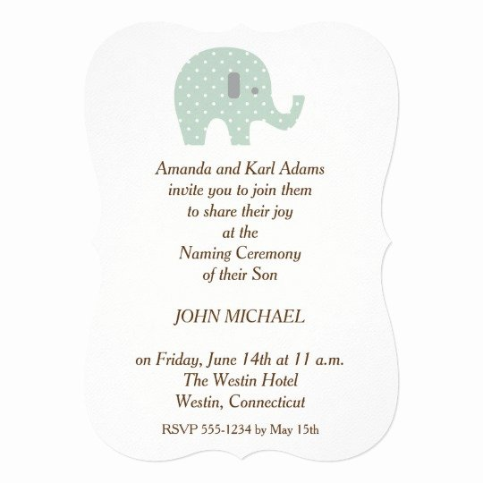 Baby Naming Ceremony Invitation Beautiful Polkadot Elephant Baby Boy Naming Ceremony Invite