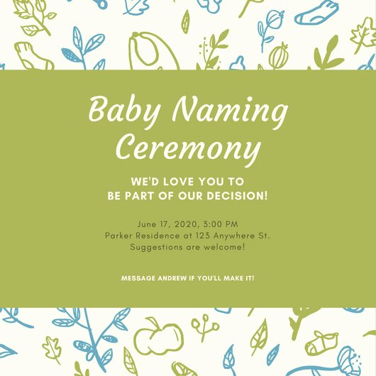 Baby Naming Ceremony Invitation Elegant Cream with Leaves Pattern Baby Naming Ceremony Invitation