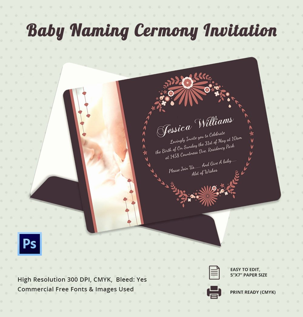 Baby Naming Ceremony Invitation Inspirational 37 Naming Ceremony Invitations – Free Psd Pdf format