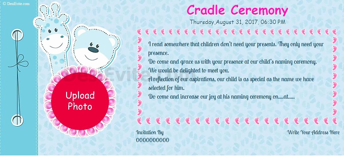 Baby Naming Ceremony Invitation Lovely Free Naming Ceremony Namakaran Invitation Card & Line