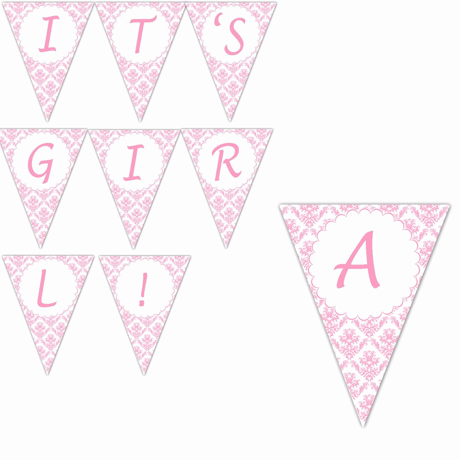 Baby Shower Banner Printable Elegant Baby Shower Banner Pink Dainty Damask Its A Girl Printable