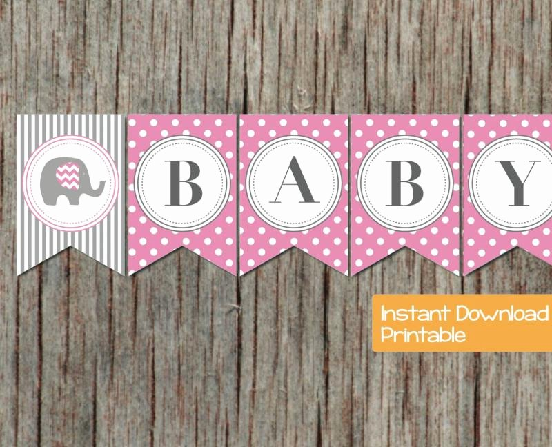 Baby Shower Banner Printable Elegant Baby Shower Banner Pink Grey Elephant by