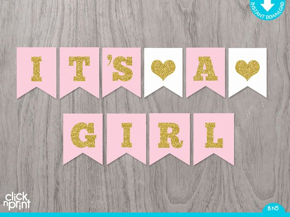 Baby Shower Banner Printable Elegant Pink and Gold Printable Baby Shower Girl Banner Printable