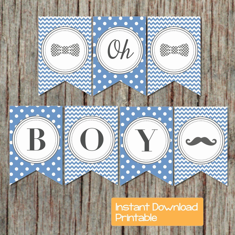Baby Shower Banner Printable Inspirational Baby Shower Banner Boy Oh Boy Printable Little Man Party Ocean