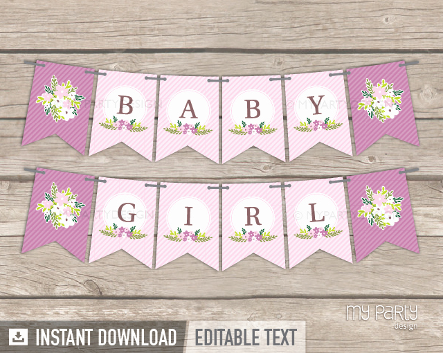 Baby Shower Banner Printable Luxury Floral Baby Shower Printable Banner My Party Design