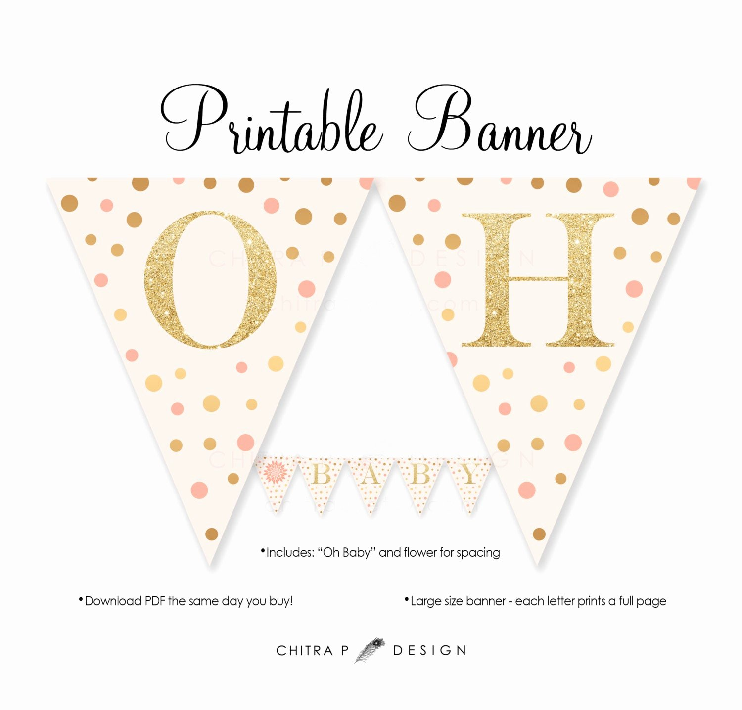 Baby Shower Banner Printable New Pink Gold Baby Shower Banner Printable Blush Glitter Oh