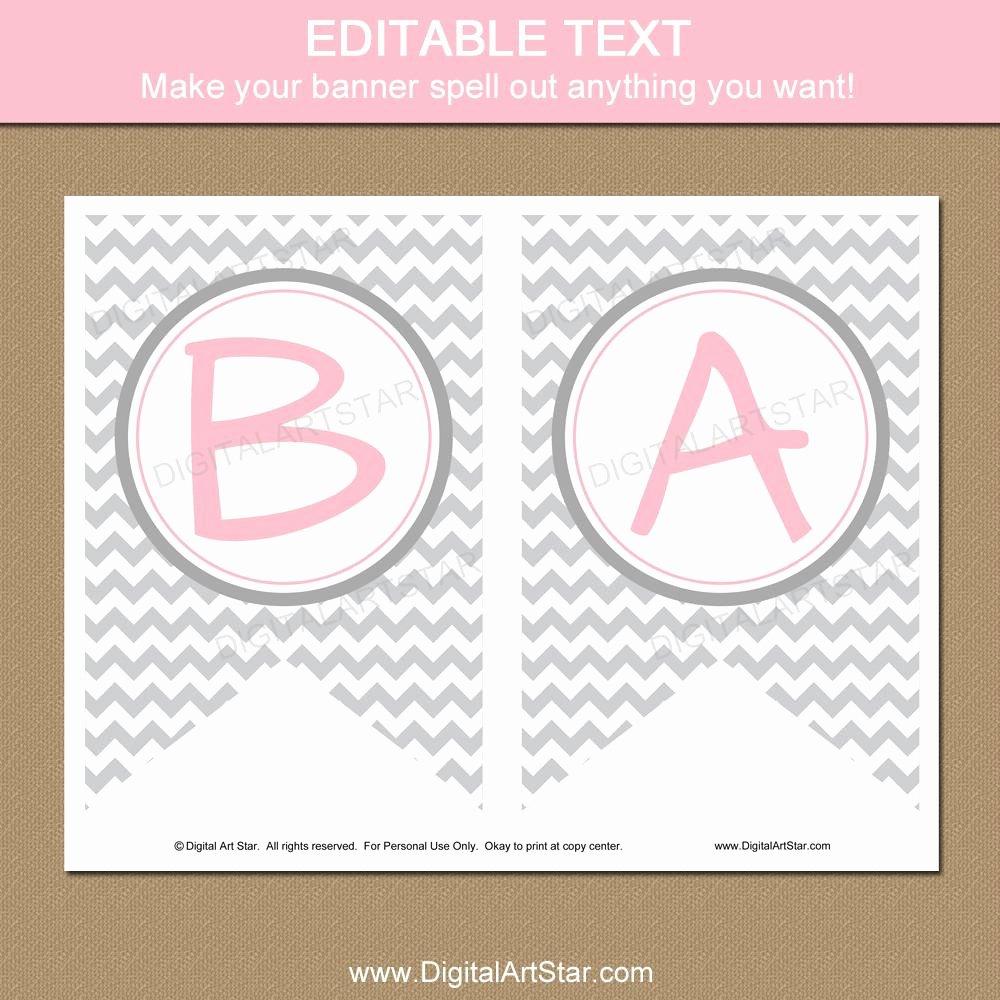 Baby Shower Banner Printable Unique Baby Shower Banner Printable Pink and Gray Chevron