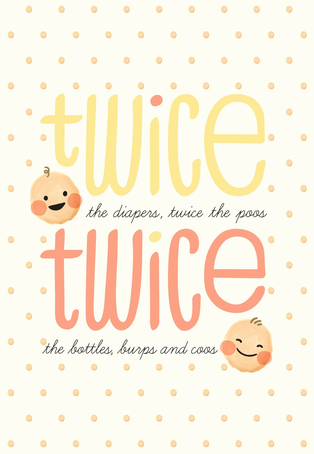 Baby Shower Card to Print Awesome Twice Twins Baby Shower & New Baby Card