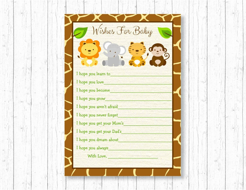 Baby Shower Card to Print Beautiful Cute Jungle Safari Animals Printable Baby Shower Wishes