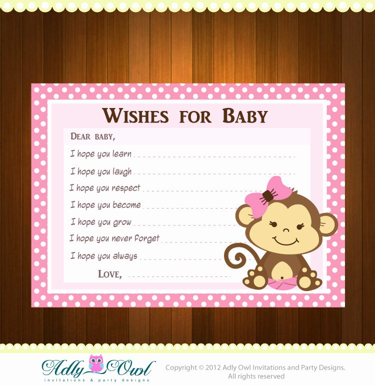 Baby Shower Card to Print Beautiful Pink Girl Monkeys Baby Shower Wish and Advice Card Printable