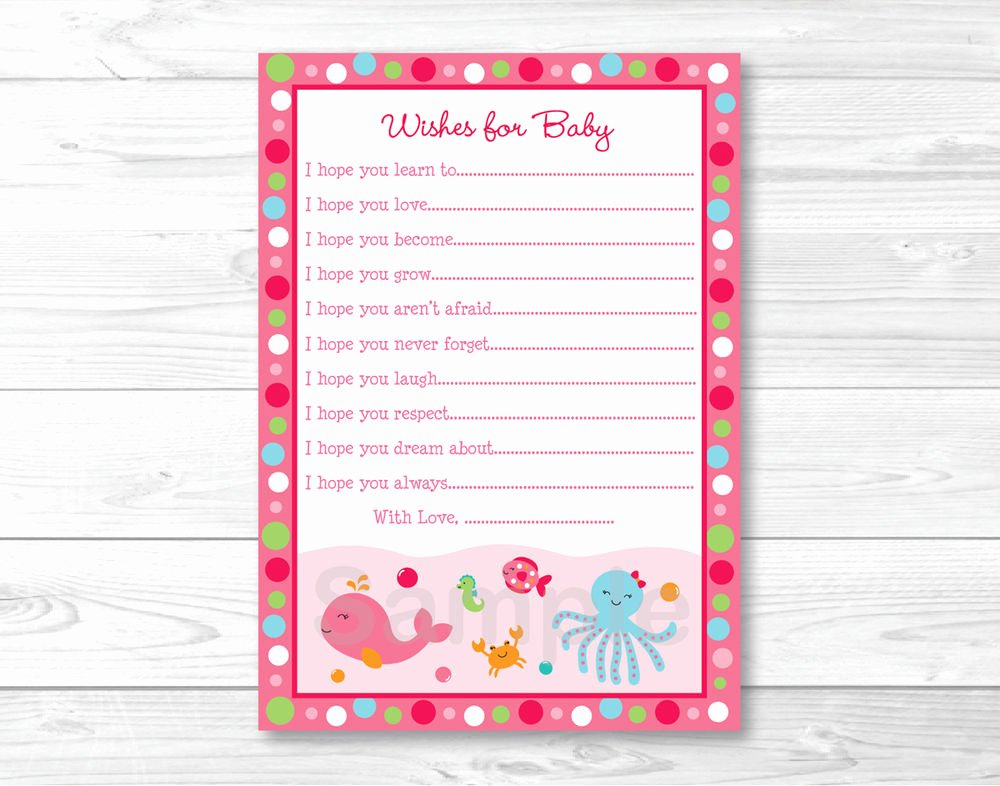 Baby Shower Card to Print Best Of Pink Under the Sea Printable Baby Shower Wishes for Baby