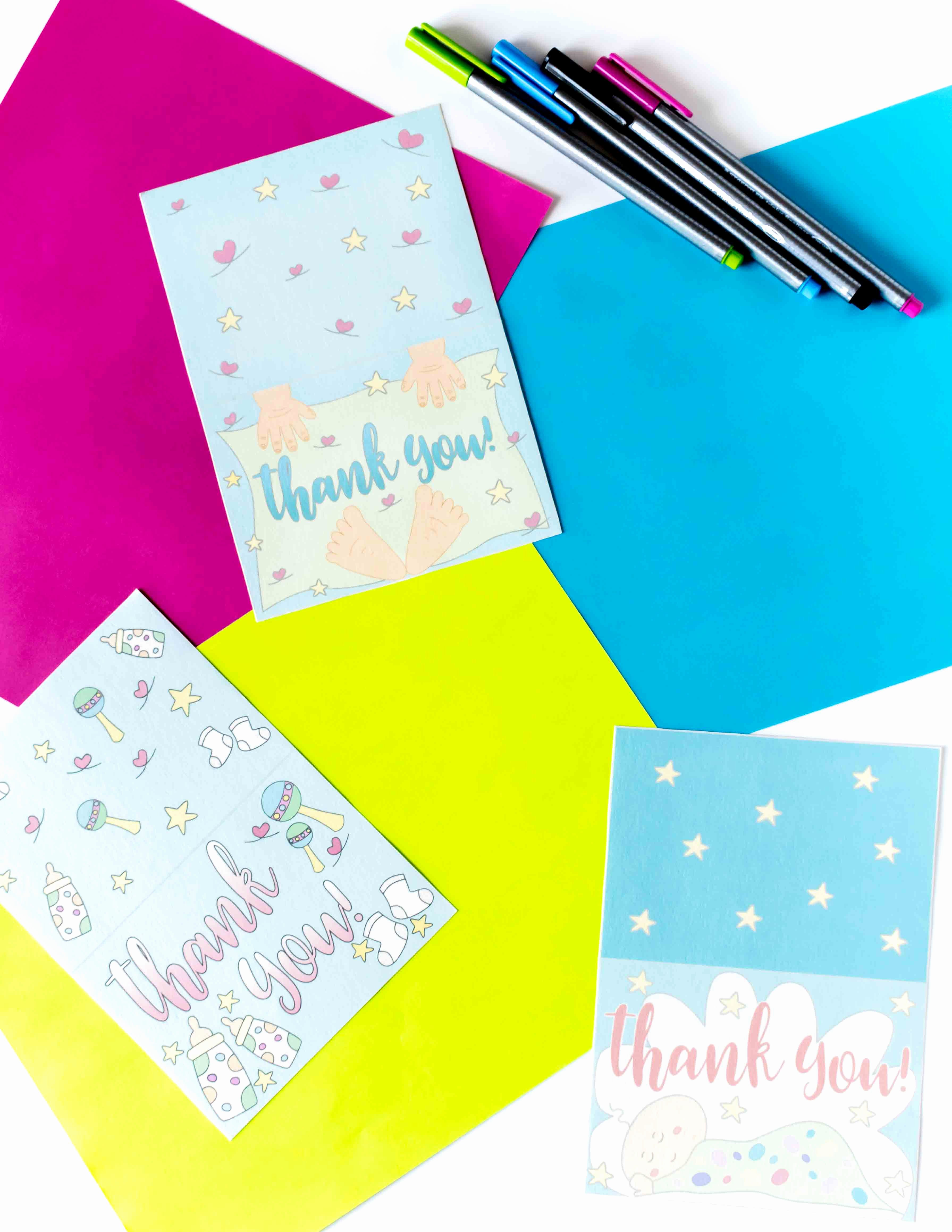 Baby Shower Card to Print Elegant Baby Shower Thank You Cards Free Printable