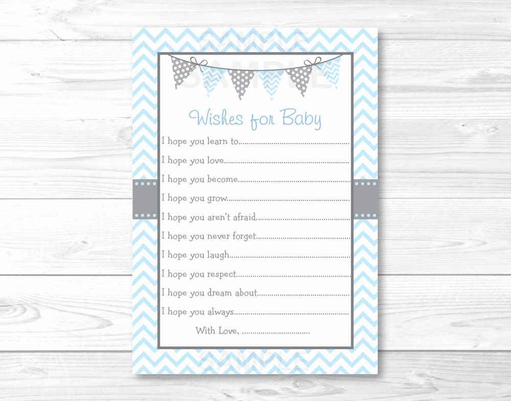 Baby Shower Card to Print Elegant Modern Baby Blue Chevron Printable Baby Shower Wishes for