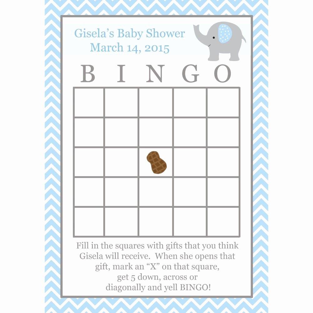 Baby Shower Card to Print Fresh 24 Baby Shower Bingo Game Cards Elephant Baby Shower