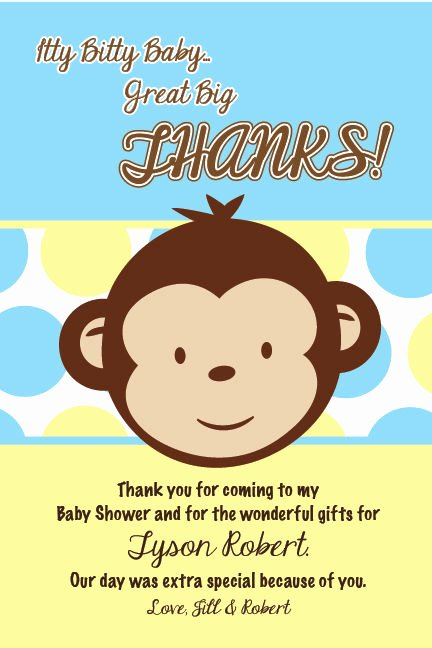 Baby Shower Card to Print Inspirational Mod Monkey Boy Thank You Cards Baby Shower Printable 1st