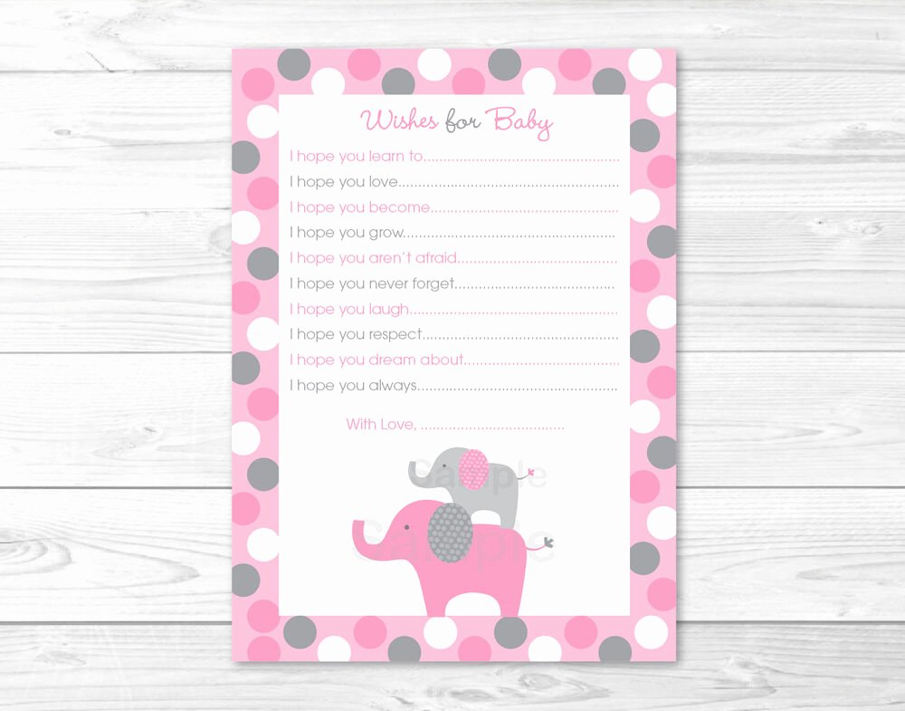 Baby Shower Card to Print Inspirational Pink Gray Polka Dot Elephant Printable Baby Shower Wishes