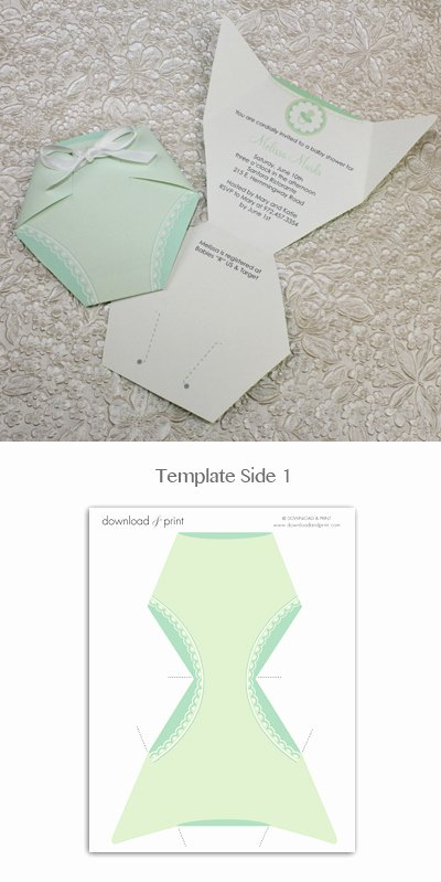 Baby Shower Diaper Template Best Of Baby Shower Invitation Template Green Diaper