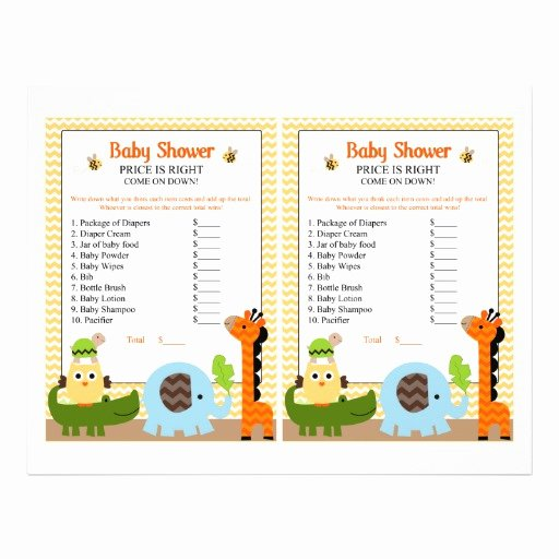 Baby Shower Flyer Ideas Best Of Jungle Stack Animals Price Game Baby Shower Flyer