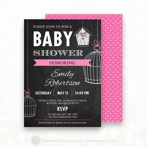 Baby Shower Flyer Ideas Unique Printable Baby Girl Shower Invitation Chalkboard Editable 5 X